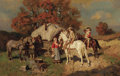 Fine Art - Painting, Russian:Modern (1900-1949), WILHELM VELTEN (Russian, 1847-1929). Stopping for a Drink at the Gypsy Camp. Oil on board. 8-1/4 x 11-1/2 inches (21.0 x...