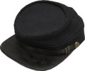 Military & Patriotic:Civil War, Chasseur Pattern Cap. Inspired by the French kepi, this low-crown, dark blue wool cap has its chin strap fastened by two eag...
