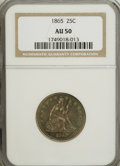 Seated Quarters: , 1865 25C AU50 NGC. NGC Census: (2/23). PCGS Population (4/29).Mintage: 58,800. Numismedia Wsl. Price for NGC/PCGS coin in ...