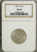 Seated Quarters: , 1876-S 25C AU58 NGC. NGC Census: (32/179). PCGS Population(24/190). Mintage: 8,596,000. Numismedia Wsl. Price for NGC/PCGS...