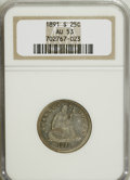 Seated Quarters: , 1891-S 25C AU53 NGC. NGC Census: (1/138). PCGS Population (1/151).Mintage: 2,216,000. Numismedia Wsl. Price for NGC/PCGS c...