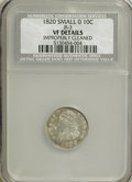 Bust Dimes: , 1820 10C Small 0--Improperly Cleaned--NCS. VF Details. JR-3. PCGSPopulation (0/13). Numismedia Wsl. P...