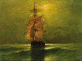 Fine Art - Painting, European:Antique  (Pre 1900), Attributed to HENRY MOORE (British, 1831-1895). Fishing Vessel at Sea. Oil on canvas. 12 x 16 inches (30.5 x 40.6 cm). S...