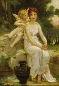 Paintings, Attributed to GUILLAUME SEIGNAC (French, 1870-1924). Cupid Whispering to a Young Maiden. Oil on canvas. 13-3/4 x 9-1/2 i...