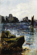 Fine Art - Painting, European:Modern  (1900 1949)  , MASON HUNTER (British, 1854-1921). Rocky Cove, 1882. Oil on canvas. 12-3/4 x 8-3/4 inches (32.4 x 22.2 cm). Signed a...