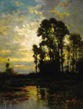 Fine Art - Painting, American:Antique  (Pre 1900), CARL WEBER (American, 1850-1921). Pastoral Sunset. Oil onboard. 13-1/4 x 10-1/2 inches (33.7 x 26.7 cm). Signed lower r...