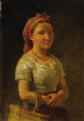 Fine Art - Painting, European:Antique  (Pre 1900), R. CASNEDI (19th Century). Girl with Red Necklace, 1881. Oilon canvas. 11 x 7-1/2 inches (27.9 x 19.1 cm). Signed and d...