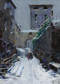 Fine Art - Painting, European:Modern  (1900 1949)  , VITTORIO NATTINO (Italian, 1890-1971). Snowy Stroll. Oil oncanvas laid on board. 12-1/4 x 9-1/4 inches (31.1 x 23.5 cm)...