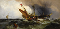 EDWARD MORAN (American, 1829-1901) Recovering the Wreck Oil on canvas laid on board 9-1/2 x 18-1/