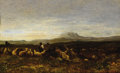 Fine Art - Painting, European:Antique  (Pre 1900), LÉON VICTOR DUPRÉ (French, 1816-1879). Farmers in Landscape, 1870. Oil on board. 5-1/2 x 9 inches (14.0 x 22.9 cm). Sign...