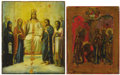 Fine Art - Painting, Russian:Antique (Pre-1900), TWO RUSSIAN ICONS OF SAINT SERGEI. Mid 19th century. 10-3/4 x 8-1/2inches (27.3 x 21.6 cm) larger. ... (Total: 2 Items)