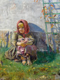 Fine Art - Painting, Russian:Modern (1900-1949), NIKOLAI BOGDANOV-BELSKY (Russian, 1868-1945). Young Girl Sittingin a Garden. Oil on canvas. 27-1/4 x 20-1/4 inches (69....