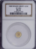 California Fractional Gold: , 1868 25C Liberty Round 25 Cents, BG-806, R.3, MS62 NGC. NGC Census:(2/18). PCGS Population (8/132). (#10667)...