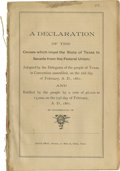 Books:Pamphlets & Tracts, [Texas C.S.A] A Declaration of the Causes which impel the Stateof Texas to Secede from the Federal Union: Adopted...