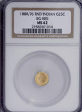 California Fractional Gold: , 1880/76 25C Indian Round 25 Cents, BG-885, R.3, MS62 NGC. NGCCensus: (6/24). PCGS Population (29/126). (#10746)...
