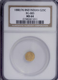 California Fractional Gold: , 1880/76 25C Indian Round 25 Cents, BG-885, R.3, MS64 NGC. NGCCensus: (12/6). PCGS Population (59/19). (#10746)...