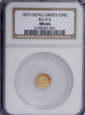 California Fractional Gold: , 1873 50C Liberty Octagonal 50 Cents, BG-915, Low R.4, MS64 NGC. NGCCensus: (3/6). PCGS Population (34/27). (#10773)...