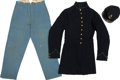 "Military & Patriotic:Civil War, Complete and Identified United States Regulation Uniform Grouping with Rare ""Corded"" Frock Coat. This cap, coat and trousers... (Total: 4 Items)"