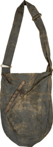 Military & Patriotic:Civil War, Interesting Tarred Canvas Enlisted Man's Haversack with Unusual Adjustable Strap. Two brass buckles have been added to the 2...