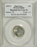Errors, 1997-P 10C Roosevelt Dime Mated Pair Set MS63-MS64 PCGS.... (Total:2 coins)