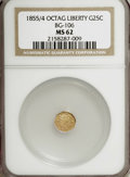 California Fractional Gold: , 1855/4 25C Liberty Octagonal 25 Cents, BG-106, R.3, MS62 NGC. NGCCensus: (3/17). PCGS Population (32/88). (#10375)...