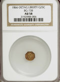 California Fractional Gold: , 1866 25C Liberty Octagonal 25 Cents, BG-738, R.7, AU58 NGC. NGCCensus: (1/1). PCGS Population (2/6). (#10565)...