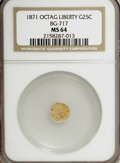 California Fractional Gold: , 1871 25C Liberty Octagonal 25 Cents, BG-717, R.3, MS64 NGC. NGCCensus: (8/9). PCGS Population (61/70). (#10544)...