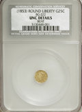 California Fractional Gold: , Undated 25C Liberty Round 25 Cents, BG-222, R.2,--Bent--NCS. UncDetails. NGC Census: (0/51). PCGS Population (7/369). (#...