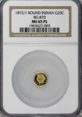 California Fractional Gold, 1872/1 25C Indian Round 25 Cents, BG-870, R.3, MS65 ProoflikeNGC....