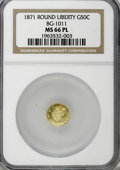 California Fractional Gold, 1871 50C Liberty Round 50 Cents, BG-1011, R.2, MS66 ProoflikeNGC....