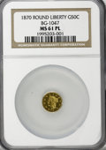 California Fractional Gold: , 1870 50C Goofy Head Round 50 Cents, BG-1047, High R.4, MS61Prooflike NGC. NGC Census: (1/1). (#71...