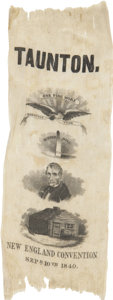 "Political:Ribbons & Badges, William Henry Harrison: ""New England Convention"" Silk Campaign Ribbon...."