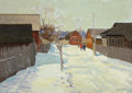 Fine Art - Painting, Russian:Contemporary (1950 to present), NIKOLAI SERGEYEV (Russian, 1908-1989). Winter Village, 1960.Oil on board. 19 x 27 inches (48.3 x 68.6 cm). Signed and d...