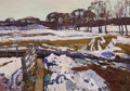 Fine Art - Painting, Russian:Contemporary (1950 to present), NIKOLAI EFIMOVICH TIMKOV (Russian, 1912-1993). Winter, 1969. Oil on board. 20-1/2 x 29 inches (52.1 x 73.7 cm). Signed a...