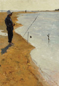 Fine Art - Painting, Russian:Contemporary (1950 to present), VICTOR PRIBYLOVSKY (Russian, 1919-1975). Boy Fishing. Oil onboard. 27 x 20 inches (68.6 x 50.8 cm). Initialed lower lef...