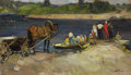 Fine Art - Painting, Russian:Contemporary (1950 to present), NIKITA CHEBAKOV (Russian, 1914-1968). At a River Crossing,1951. Oil on canvas. 22 x 38 inches (55.9 x 96.5 cm). Signed ...