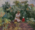 Fine Art - Painting, Russian, MOSCOW SCHOOL (20th Century). Mother and Child in Garden.Oil on canvas. 27 x 31-1/2 inches (68.6 x 80.0 cm). ...