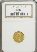 Classic Quarter Eagles: , 1834 $2 1/2 Classic AU53 NGC. NGC Census: (68/696). PCGS Population (46/348). Mintage: 112,234. Numismedia Wsl. Price for N...