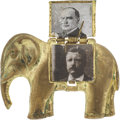 Political:Ferrotypes / Photo Badges (pre-1896), McKinley & Roosevelt: Clever Mechanical GOP Elephant Pin....