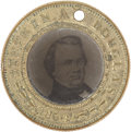 Political:Ferrotypes / Photo Badges (pre-1896), Douglas & Johnson: Handsome Campaign Ferrotype....