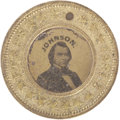 Political:Ferrotypes / Photo Badges (pre-1896), Lincoln & Johnson Ferrotype Token...