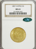 Early Half Eagles, 1807 $5 Capped Bust Left MS63 NGC. CAC. NGC Census: (33/31). PCGSPopulation (38/35). Mintage: 51,605. Numismedia Wsl. Pric...