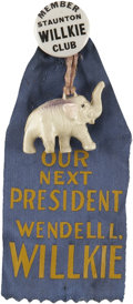 "Political:Ribbons & Badges, Wendell Willkie: A Rare 7/8"" Celluloid from Staunton, Virginia. ..."