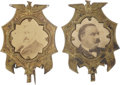 Political:Ferrotypes / Photo Badges (pre-1896), Grover Cleveland and Benjamin Harrison: Pair of Matched PhotoPins.... (Total: 2 Items)