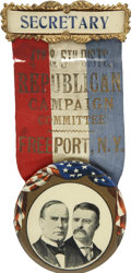Political:Ribbons & Badges, McKinley & Roosevelt: Gorgeous New York Republican Campaign Committee Jugate Badge....