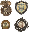 Political:Ribbons & Badges, Theodore Roosevelt: Lot of Four Badges... (Total: 4 Items)