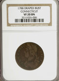 Colonials: , 1788 COPPER Connecticut Copper, Draped Bust Left VF20 NGC. PCGSPopulation (5/30). (#409)...
