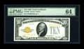 Small Size:Gold Certificates, Fr. 2400 $10 1928 Gold Certificate. PMG Choice Uncirculated 64.. The overprints are stunning on this piece that is a touch t...