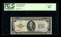 Small Size:Gold Certificates, Fr. 2405 $100 1928 Gold Certificate. PCGS Choice New 63.. This is a well margined and nicely centered note that is tougher i...