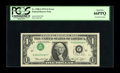 Error Notes:Inverted Third Printings, Fr. 1908-J $1 1974 Federal Reserve Note. PCGS Gem New 66PPQ.. Thistype 1 inverted third printing example is simply stunning...